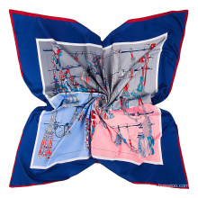 Fashion rope tassels pattern printed scarf imitation silk fabric scarf 130x130cm square sacrf